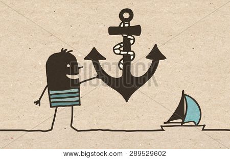 Black cartoon Sailor with big Anchor