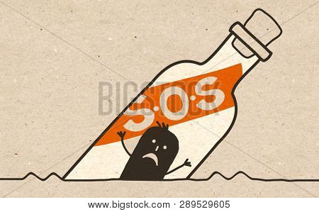 Black cartoon Man in an S.O.S Bottle
