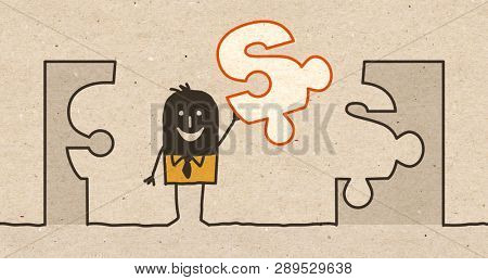 Black cartoon Businessman with Puzzle