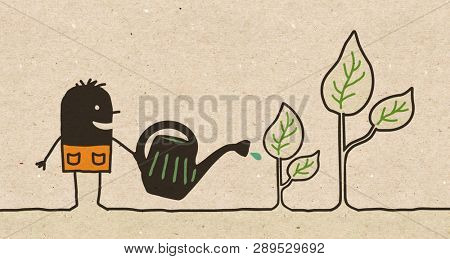 Black Cartoon Gardener watering Plants