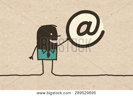 Black cartoon Man with Internet Symbol