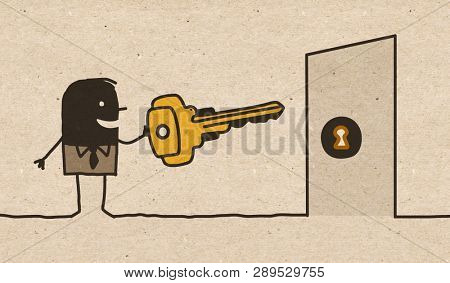 Black cartoon Man with Big Key