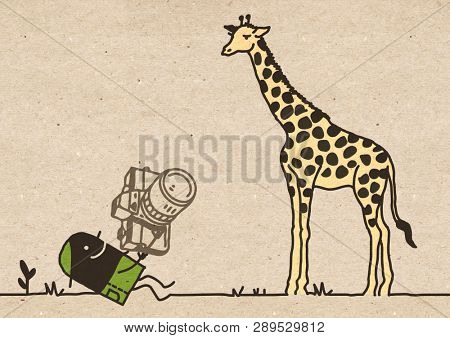 Black Cartoon Photographer with Giraffe