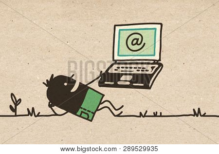 Black Cartoon Man relaxing with Laptop
