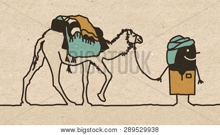 Black Cartoon Nomad with Camel
