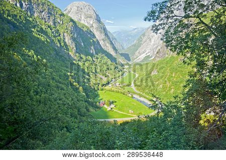 Breathtaking Norwegian Landscapes On The Stalheimskleiva Road During A Bus Ride Gudvangen - Voss - N