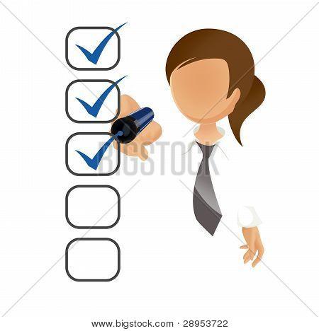Businesswoman filling a checklist