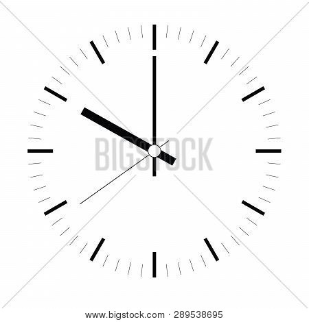 Clock Face. Blank Hour Dial With Hour, Minute And Second Hand. Dashes Mark Minutes And Hours. Simple
