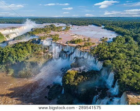 Aerial View Of The Iguazu Falls. View Over The Garganta Del Diablo The Devils Throat.