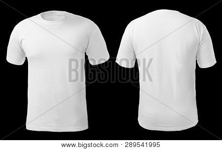 Blank Shirt Mock Up Template, Front And Back View, Isolated On White, Plain T-shirt Mockup. Tee Swea