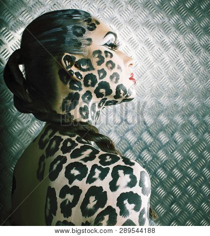 Young Sexy Woman With Leopard Make Up All Over Body, Cat Bodyart Print Closeup