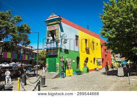 Buenos Aires Argentina - Dec 25, 2018: Colorful houses at Caminito street in La Boca, Buenos Aires. Argentina.