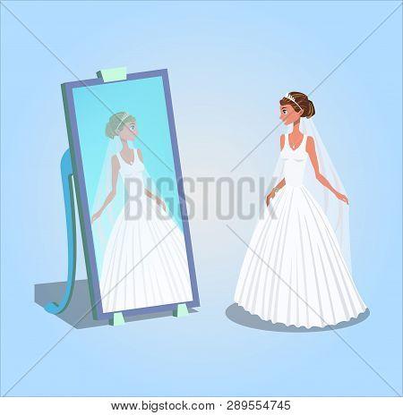 Young Woman In Wedding Dress Vector Illustration. Bride Looking In Mirror Cartoon Character. Wedding
