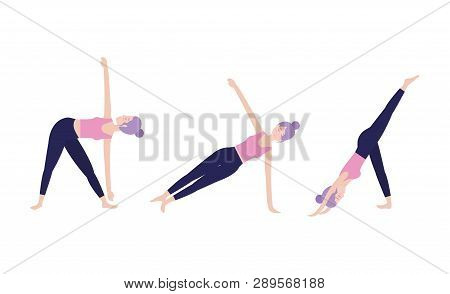 Set Healthy Woman Practice Exercise Vector Illustration