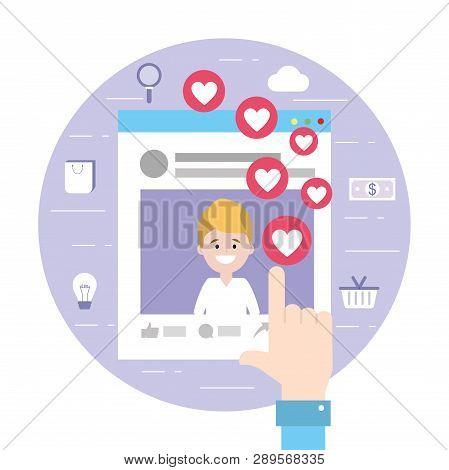 Man Website Social Media Information Vector Illustration