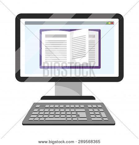 Online Education Computer Cartoon Vector Illustration Graphic Design
