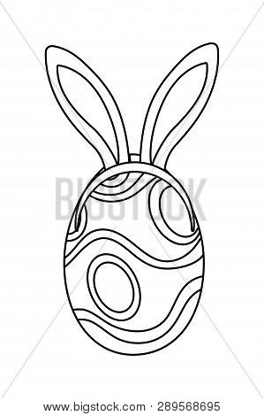Easter Egg With Rabbit Ears Cartoon Vector Illustration Graphic Design