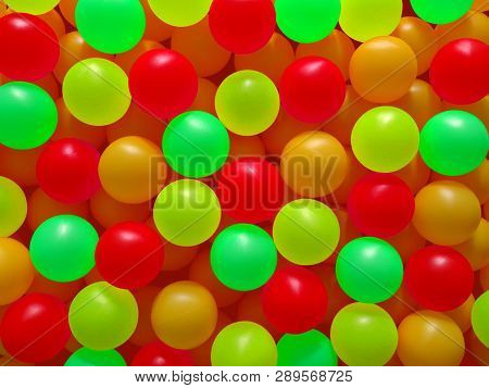 Background Of Colorful Ping Pong Balls, Close Up