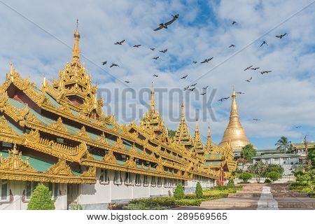 The Shwedagon Pagoda One Of The Most Famous Pagodas In The World The Main Attraction Of Yangon. Myan
