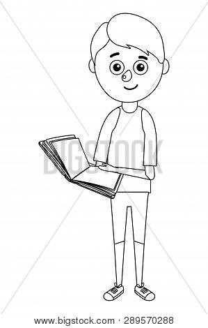 Young Boy Student Holding Book Vector Illustration Graphic Design