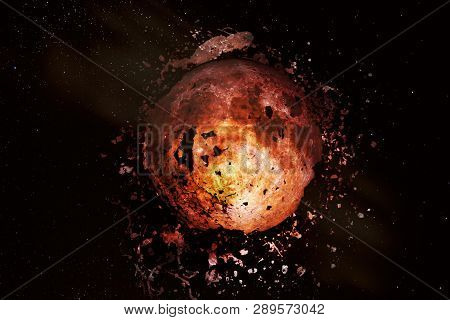 Explosion Of The Moon In Space. Fragments Of The Planet Scatter Around. Apocalypse. Elements Of This
