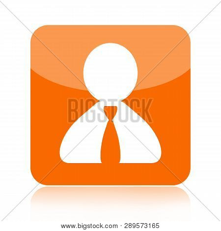 Person Orange  Glossy Icon Isolated On White Background