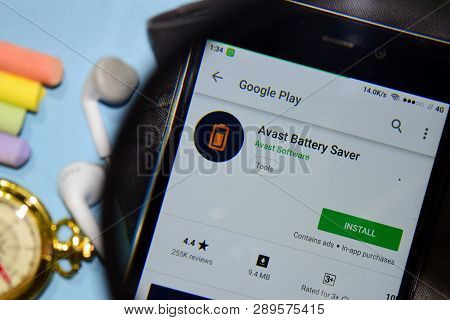 Bekasi, West Java, Indonesia. March 15, 2019 : Avast Battery Saver Dev App With Magnifying On Smartp