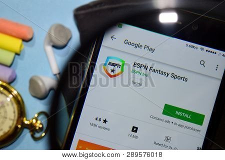 Bekasi, West Java, Indonesia. March 15, 2019 : Espn Fantasy Sports Dev App With Magnifying On Smartp