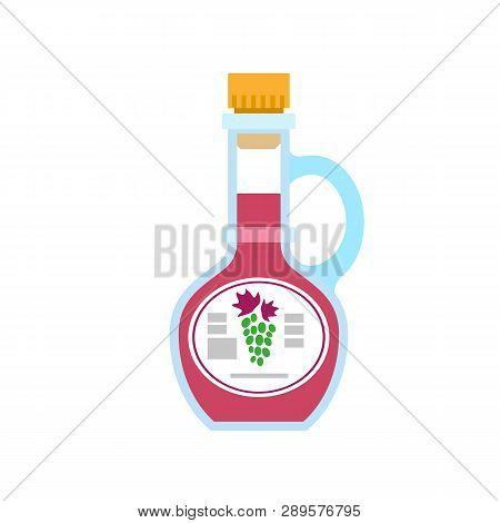 Grape Vinegar Bottle Icon. Flat Illustration Of Grape Vinegar Bottle Vector Icon For Web Design