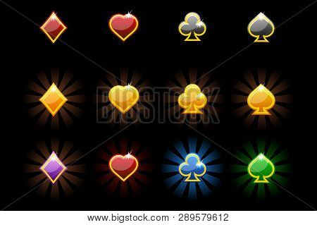 Vector Playing Card Symbols, Glossy Icons Of Playing Cards On Black Background.
