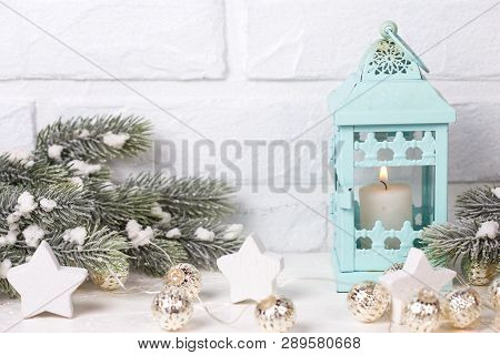 Blue Candleholder, Branches Fir Tree And  White  Stars On  White Textured  Background. Decorative Ch