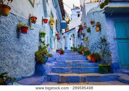 Chefchaouen, Morocco - September 19, 2018: Blue Walls Of Chefchaouen City Medina In Morocco With Bri