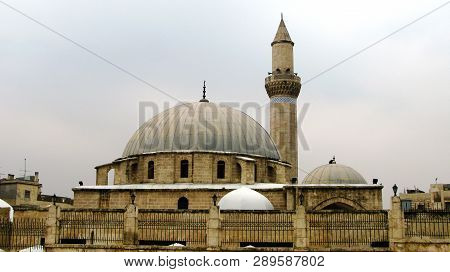 Exterior View To Khusruwiyah Mosque At The Center Of Aleppo, Syria