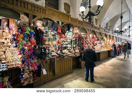 Krakow, Poland - February 19: Markets With Souvenirs In Cloth Hall On February 19, 2018 In Krakow