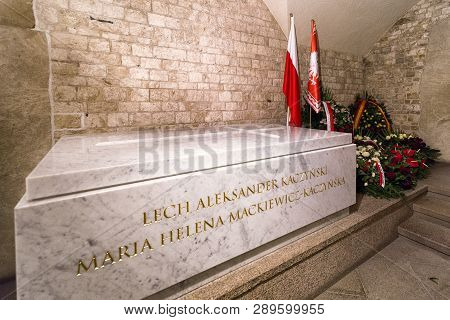 Krakow, Poland - February 19: Crypt Of President Lech A. Kaczynski In Wawel On February 19, 2018 In