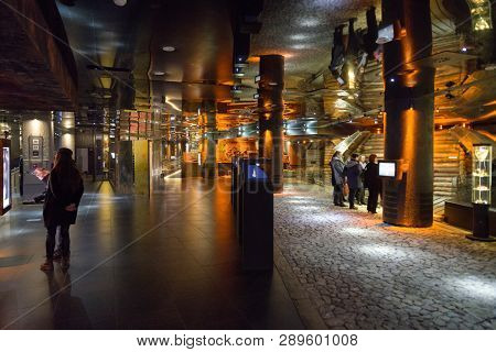 Krakow, Poland - February 19: Rynek Underground Permanent Exhibition On February 19, 2018 In Krakow