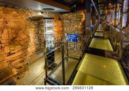 Krakow, Poland - February 19: Rynek Underground Museum On February 19, 2018 In Krakow