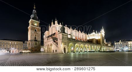 Krakow, Poland - February 19: Town Hall Tower And Cloth Hall At Main Square On February 19, 2018 In