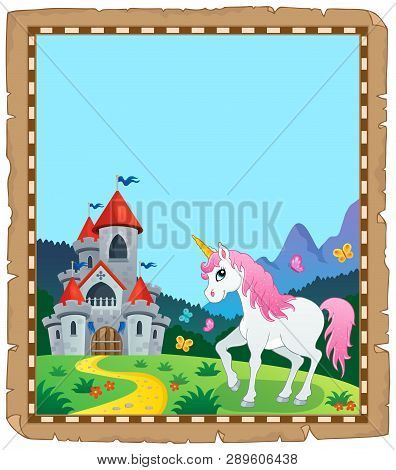 Fairy Tale Unicorn Topic Parchment 2 - Eps10 Vector Picture Illustration.