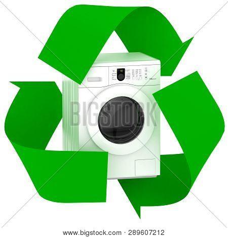 Washing Machine Inside Symbol Recycle Isolated On White Background, 3d Illustration