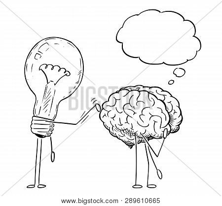 Cartoon Stick Figure Drawing Conceptual Illustration Of Lightbulb Or Light Bulb Character Tapping On
