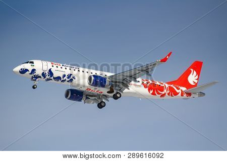 Moscow, Russia - March 14, 2019: Aircraft Embraer Erj-190 Vp-bhh Of Buta Airways Going To Landing At