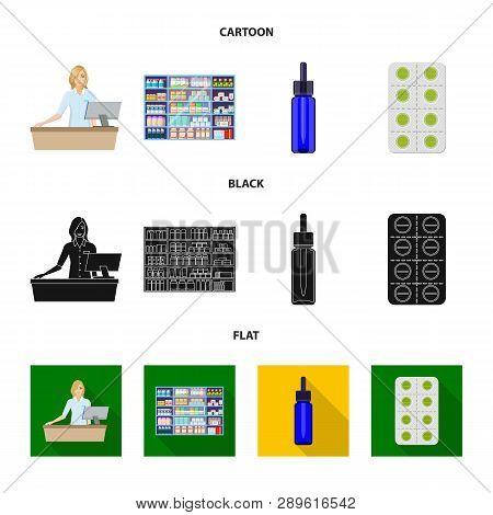 Isolated Object Of Retail And Healthcare Sign. Collection Of Retail And Wellness Vector Icon For Sto