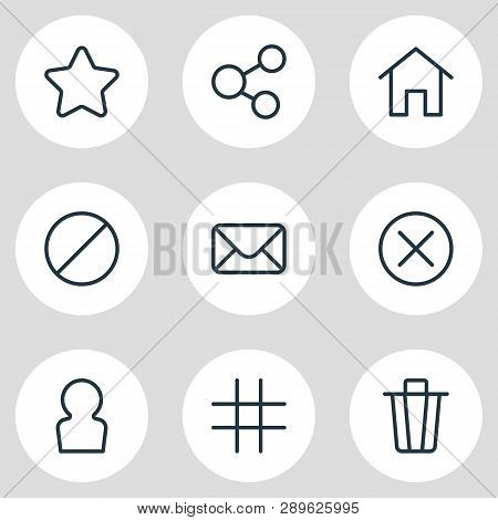 Illustration Of 9 App Icons Line Style. Editable Set Of Social, Ban, Member And Other Icon Elements.