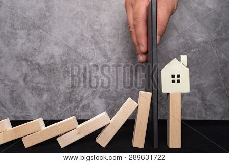Wall Stop The House Falling Down From Domino Base Concept Of Policy Intervention To The Real Estate
