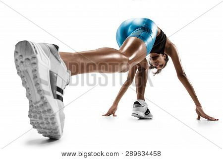 Young African Woman Preparing To Start Run Isolated On White Studio Background. One Female Runner Or