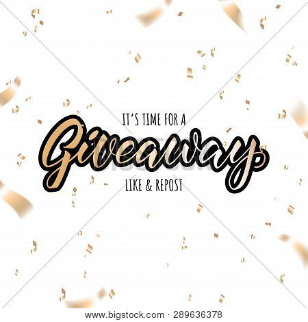 Giveaway Announcement, Banner, Card For Your Blod. Lettering Giveaway
