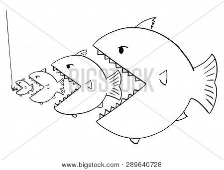 Cartoon Drawing Or Illustration Of Line Of Fish, Bigger Is Eating Smaller Ones, Metaphor Of Business