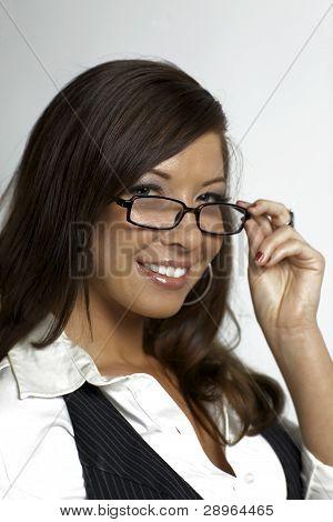 Sexy Woman Secretary Holding Glasses
