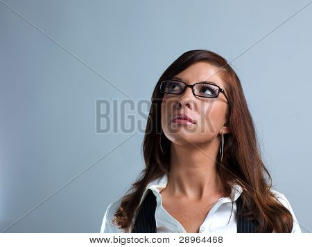 Woman In Glasses Looking Up